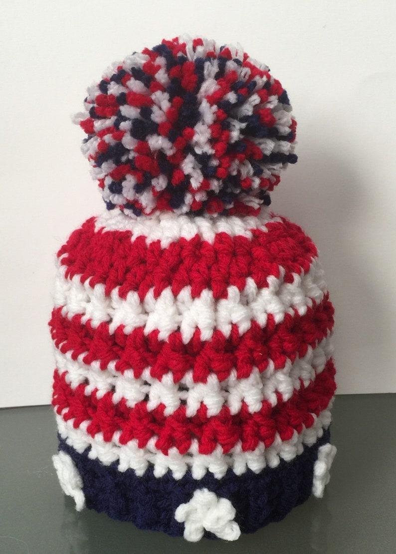 61b089a27b8 American Flag Beanie  Hat Patriotic Stars stripes Red