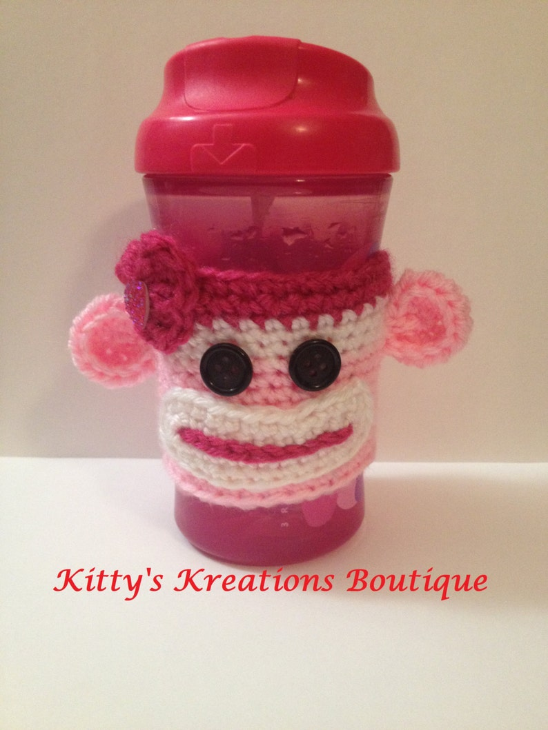 Love Monkey Coffee/ Sippy Cup Cozy's  Any Color Available image 0