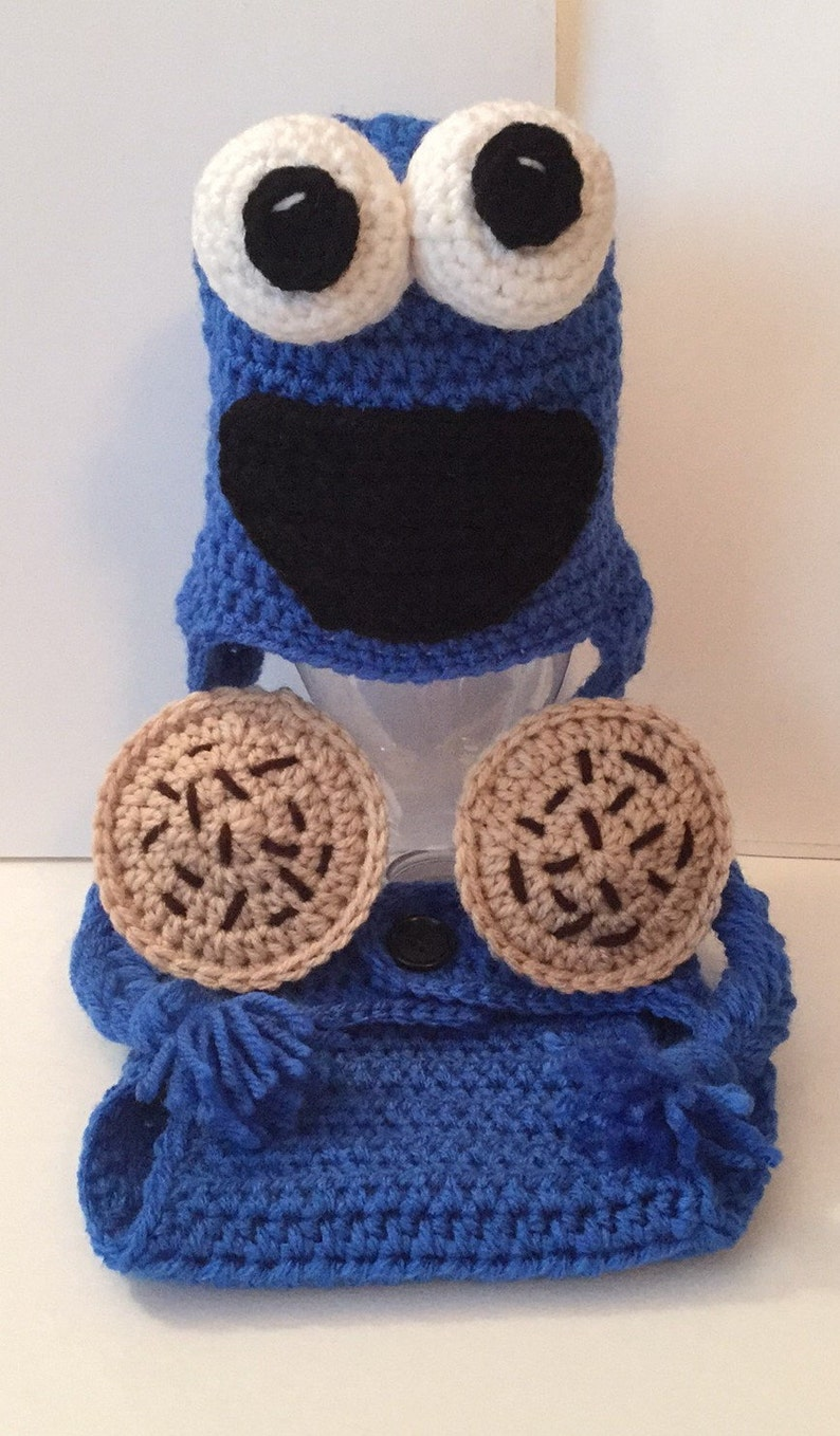 Cookie Monster Outfit set photoprop  Hat & Diaper Cover and image 0