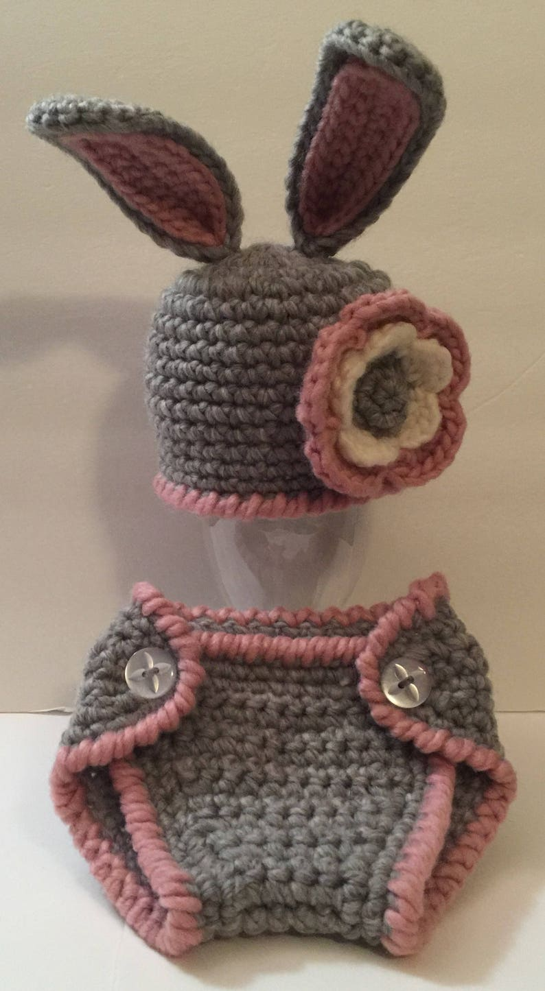 Chunky Bunny Set Beanie/ Hat with ears & Flower Diaper Cover image 0