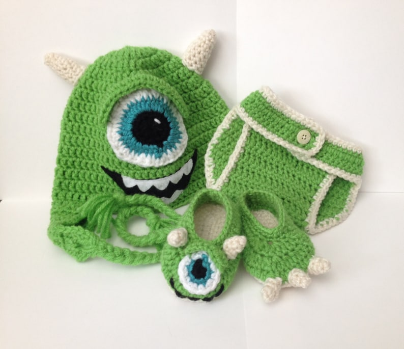 Mike Wazowski Baby Outfit  Photo Prop  Newborn to 12 Months image 0