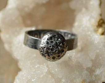 Silver Moon Crater Ring Size 6.5