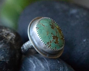 Green Hubei Turquoise Ring in Sterling Sz 5.5+