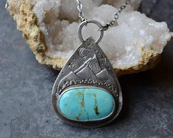 Kingman Turquoise Mountainscape Talisman Necklace