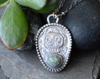 SALE: WAS 189- Poseidon Variscite Sugar Skull Shield Necklace in Sterling Silver