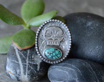 SALE: WAS 179- Hubei Turquoise & Skull Shield Ring in Sterling Silver Sz 7.5+