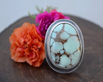 Hubei Turquoise Cocktail Ring in Sterling Sz 7.5