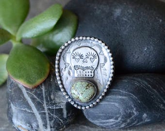 SALE: WAS 179- New Lander Turquoise & Skull Shield Ring in Sterling Silver Sz 8.5