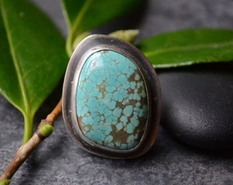 Nevada #8 Mine Turquoise Cocktail Ring in Sterling Size 7