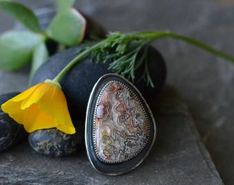 Mexican Lace Agate Cocktail Ring in Sterling Silver Sz 7.5