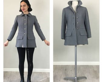 4ee11a25bf5 Grey wool military MOD 60s Peacoat XS S