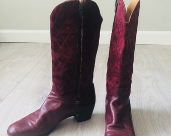 73bff25e8e8 Vintage 80s Ferragamo designer quilted leather mahagony boots size 5us