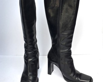 72c97499f8 Vintage 80s Charles David platform knee high boots SIZE 7 us