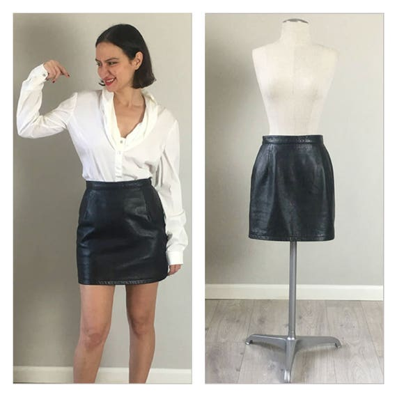 Vintage 80s leather mini skirt  SMALL