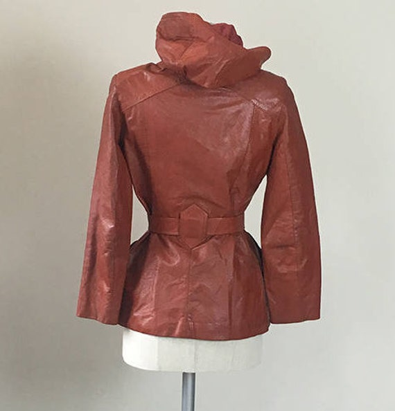 70s Brick leather Hoodie trench coat  Small - image 4
