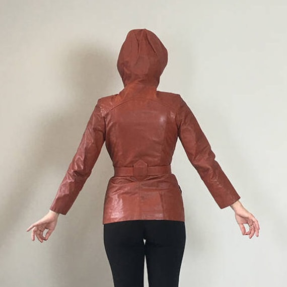 70s Brick leather Hoodie trench coat  Small - image 7