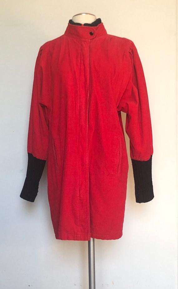 Vintage 80s retro cocoon sleeve red corduroy jacke