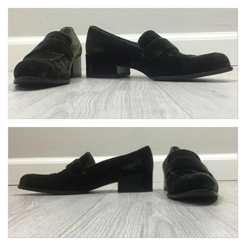 578ac603b4a Fabulous vintage 90s Green Velvet Prada loafer heels SIZE