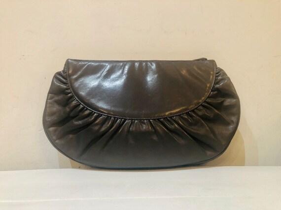 Vintage 80s grey leather Halston designer clutch … - image 3