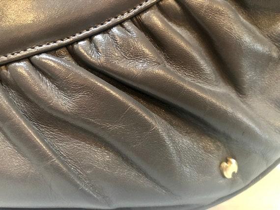 Vintage 80s grey leather Halston designer clutch … - image 5