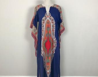 Cotton 70s  ethnic bohemian kaftan dress small