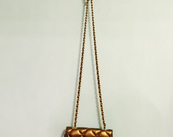 Vintage 90's quilted metallic leather purse