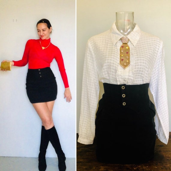 Vintage 80s Tuxedo mini skirt  small