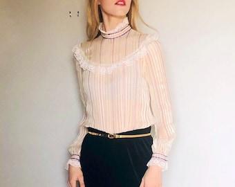 Vintage sheer silk lace ruffled blouse  Small