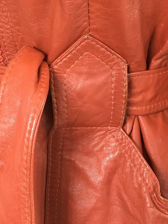 70s Brick leather Hoodie trench coat  Small - image 9