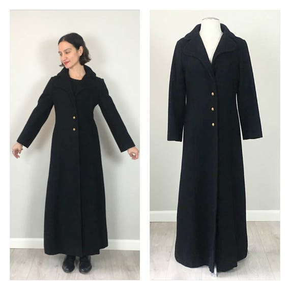 Vintage 50s military Black Maxi wool coat  S  M