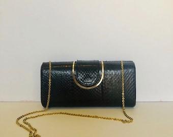 Vintage 50s hardshell coffee brown snakeskin clutch/purse