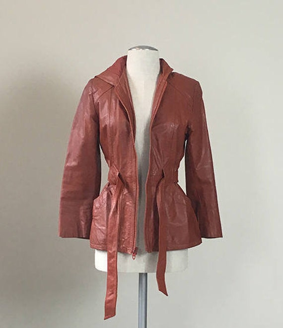70s Brick leather Hoodie trench coat  Small - image 5