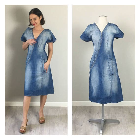 Faded 80s Denim Zipper Dress