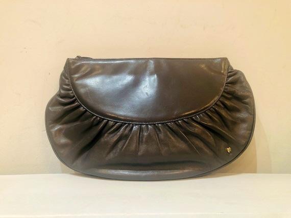 Vintage 80s grey leather Halston designer clutch … - image 1