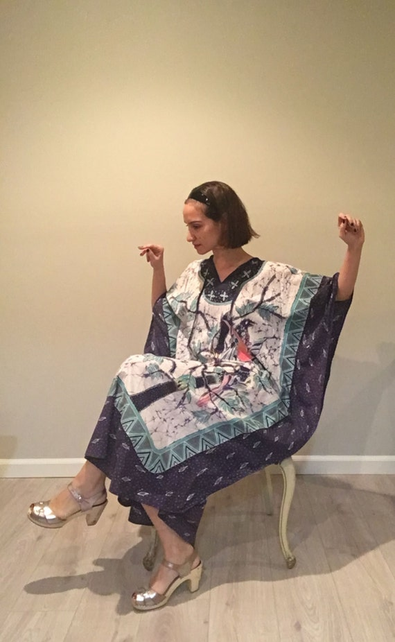 Vintage 60s Cotton Maxi Kaftan   ONE SIZE