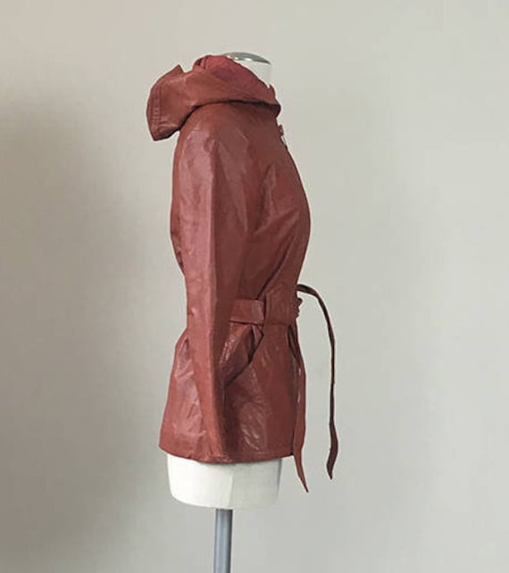 70s Brick leather Hoodie trench coat  Small - image 3