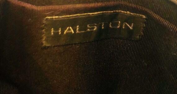 Vintage 80s grey leather Halston designer clutch … - image 6