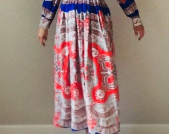 Vintage 60s psychedelic Ascot Paisley maxi dress S M