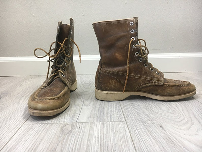 a5608ad6505 Vintage 50s moc Toe RED Wing Style ladies boots SIZE 8 US