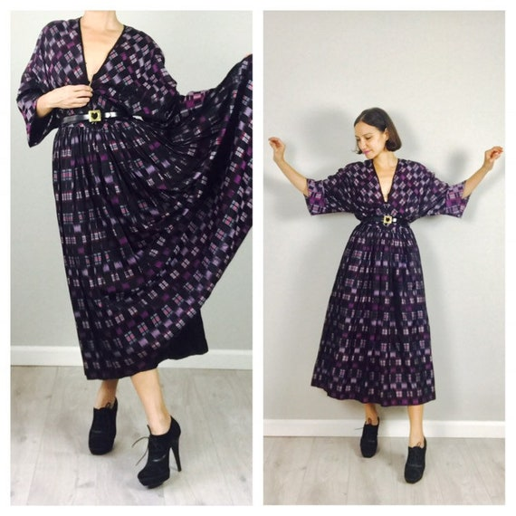 Vintage 70s Hanae Mori Silk Plaid dress  M