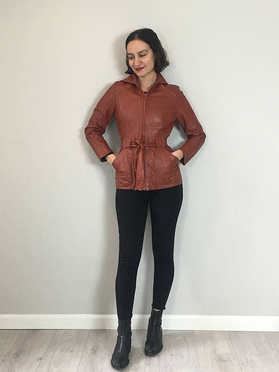 70s Brick leather Hoodie trench coat  Small - image 6