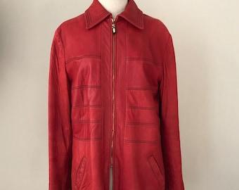 Vintage 80s Mod red leather St John jacket. S M