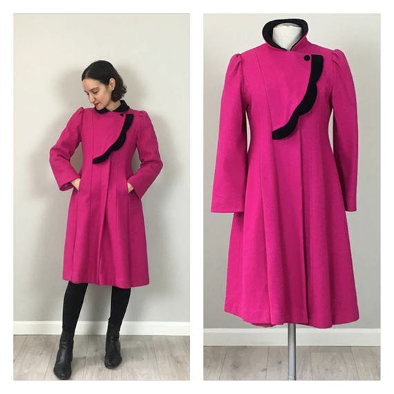 Vintage 50s Wool Rothschild Fuchsia Princess Coat
