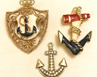 Vintage And Newer Anchor Brooch And Pendant Lot