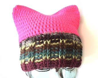 Summer Inspired Pussy Hat Project // Donation with every purchase // Resist // Womens rights - Multi color cat beanie