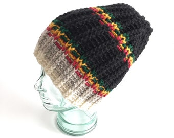 Backpacker Mens Hat // Wool Crochet Beanie // Rasta Stoner accessory // Womens crochet hat // merino wool yarn // dreadlocks cover