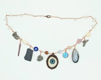 Curio Cabinet on a Charm Necklace with Blue Prosthetic eye Centerpiece and Quartz Beads
