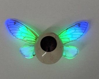 Winged Eye Brooch with Glow in the Dark Wings