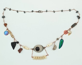Curio Cabinet on a Charm Necklace with Brown Prosthetic Eye and Denture Teeth Centerpiece