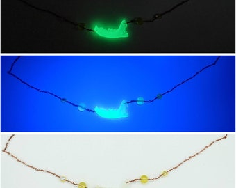 Glow in the Dark Resin Mink Jaw Necklace with Uranium Glass Beads